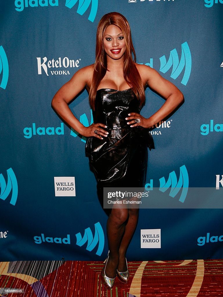 Transgender actress Laverne Cox attends the 24th annual GLAAD Media awards at The New York Marriott Marquis on March 16, 2013 in New York City.