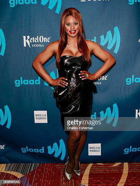 Transgender actress Laverne Cox attends the 24th annual GLAAD Media awards at The New York Marriott Marquis on March 16 2013 in New York City