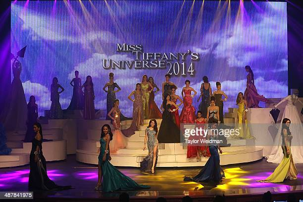 Transgender contestants compete during the Miss Tiffany's Universe transgender beauty contest on May 2 2014 in Pattaya Thailand The Miss Tiffany's...