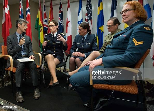 Transgender Major Alexandra Larsson of the Swedish Armed Forces speaks alongside fellow transgenders Corporal Natalie Murray of the Canadian Forces...