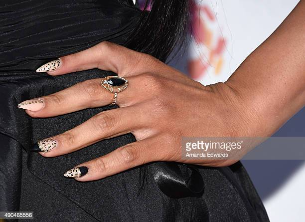 Transgender television personality Xristina manicure and jewelry detail arrives at the premiere party for Fuse's 'Transcendent' at The Village at Ed...