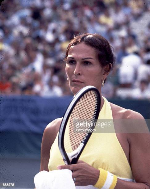 Tennis player Renee Richards on the tennis court July 1977
