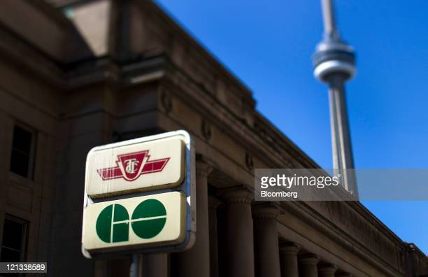 GO Transit and Toronton Transit Commission signage are displayed outside of Union Station in Toronto Ontario Canada on Tuesday Aug 16 2011 GO Transit...