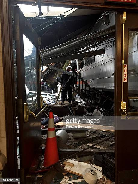 A NJ Transit train seen through the wreckage after it crashed in to the platform at the Hoboken Terminal September 29 2016 in Hoboken New Jersey New...