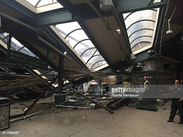 Transit train seen through the wreckage after it crashed in to the platform at the Hoboken Terminal September 29 2016 in Hoboken New Jersey New...