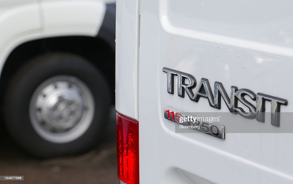 A Transit van badge is seen on a vehicle produced by the Ford Motor Co., at the company's assembly plant in Southampton, U.K., on Monday, Oct. 29, 2012. Ford Motor Co. will shut three European plants, its first factory closings in the region in a decade, and cut 5,700 jobs to stem losses that the carmaker predicts will total more than $3 billion over two years. Photographer: Jason Alden/Bloomberg via Getty Images