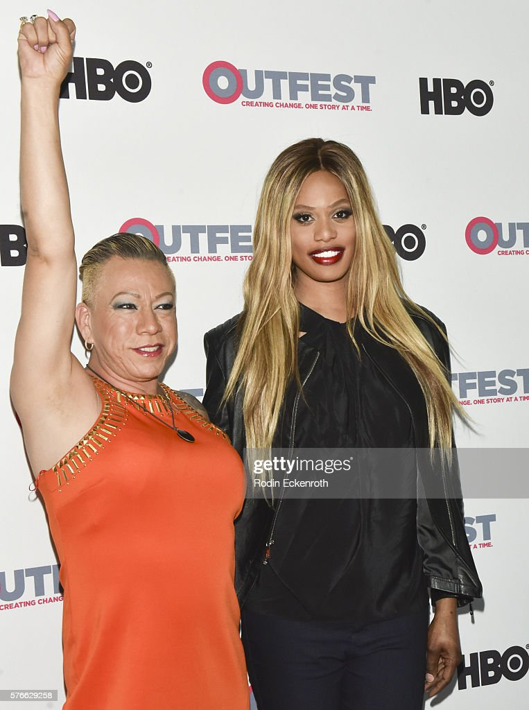 TransLatin Coalition founder Bamby Salcedo and actress Laverne Cox attend the Outfest 2016 screening of 'The Trans List' at Director's Guild Of...