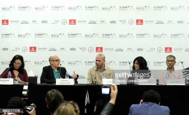 Translator Reem Owais moderator Antoine Khalife director Khaled Diab and actors Horeya Farghaly and Sayed Ragab attend the 'Induced Labor' press...
