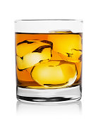 Translucent gold whiskey with ice cubes in glass and his reflection isolated on white