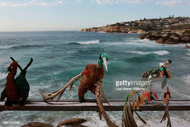 Transmigration by Jeremy Sheehan is displayed during the 2015 Sculptures by the Sea exhibition at Bondi on October 25 2015 in Sydney Australia
