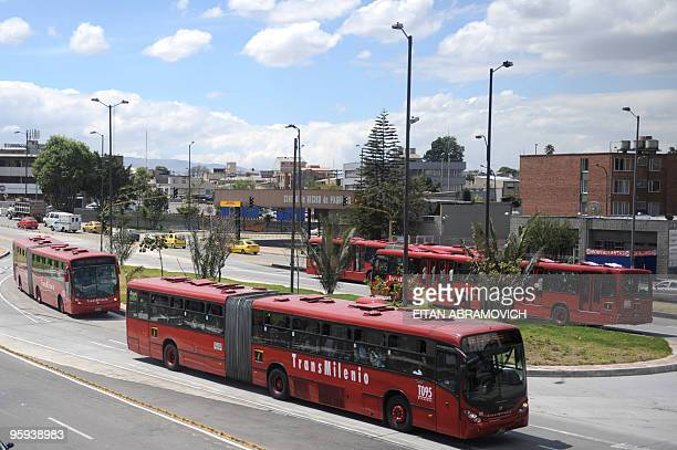 A TransMilenio bus makes its way in Bogota on January 18 2010 TransMilenio is a rapid transit bus system that serves the Colombian capital AFP...