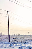 transmission facilities in snowy sunset