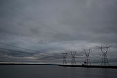 Transmission lines at Itaipu Hydroelectric Power Station at Foz do Iguacu Parana Brazil 072111