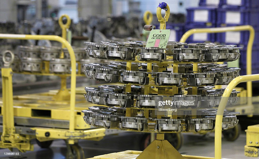 Transmission parts sit before being used during assembly at the General Motors Co. (GM) transmission plant in Warren, Michigan, U.S., on Friday, Oct. 21, 2011. General Motors said they will invest $325 million in tools and equipment to support production of future electric vehicle components, creating or retaining 418 jobs. Photographer: Jeff Kowalsky/Bloomberg via Getty Images