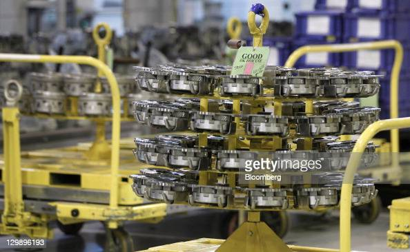 Transmission parts sit before being used during assembly at the General Motors Co transmission plant in Warren Michigan US on Friday Oct 21 2011...