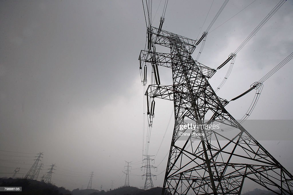 A transmission tower is seen at the Luohuang Power Plant on February 21, 2008 in Chongqing Municipality, China. Affected by the snow disaster since mid-January, the coal stock can only supply five days in the Luohuang Power Plant. Chongqing is experiencing a 1.8 million kilowatt electricity supply shortfall due to the shortage of coal.