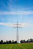 Transmission towers and power lines