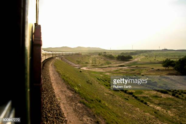 Transmongolian train from Beijing to Ulaanbaatar crossing china landscape