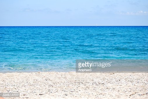 transparent deep blue wave of the sea and shore : Stock Photo
