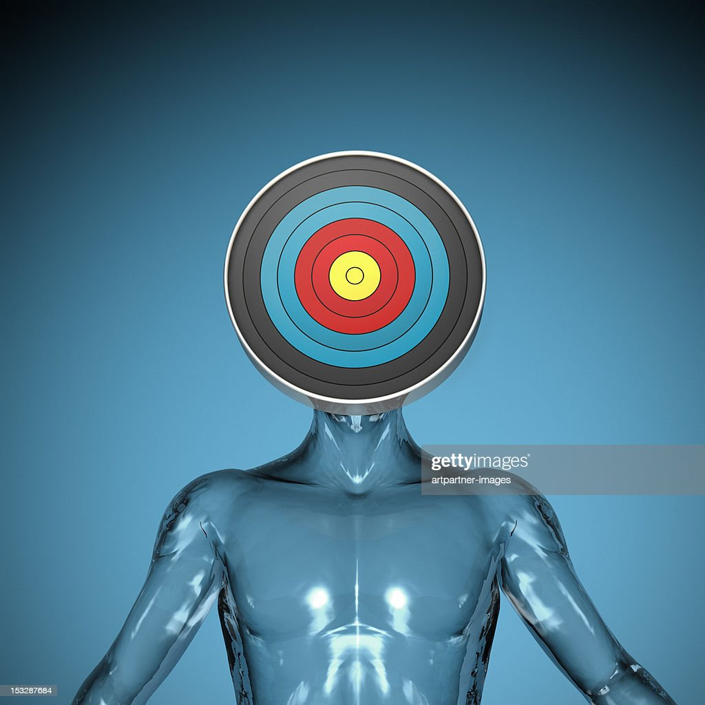 A transparent figure with a target as a head : Stock Photo