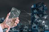 transparent futuristic smart phone and smart city, technological abstract