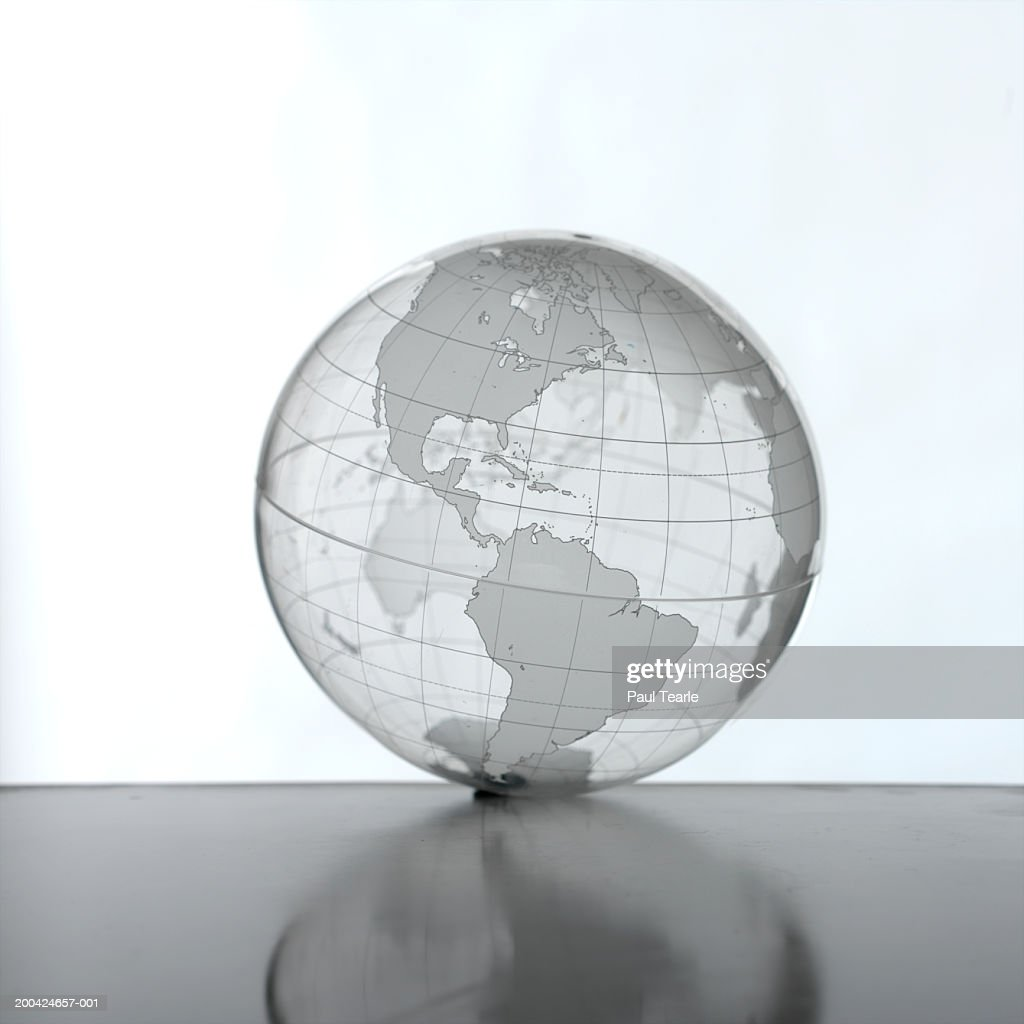 Transparent globe with The Americas prominent, close up : Stock Photo