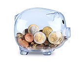 transparent see through piggy bank filled with euro coins isolated on white background