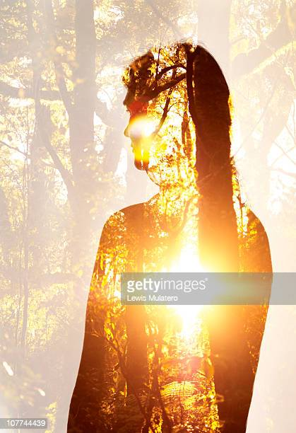 Transparent silhouetted women in sunlit forest