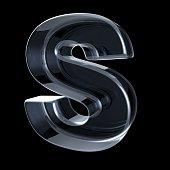 Transparent x-ray letter S. 3D render illustration on black background