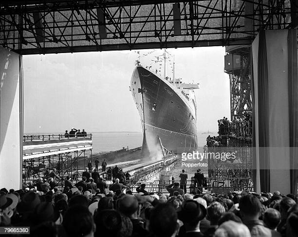 Transport 11th May The French transatlantic luxury liner 'France' being launches at St Nazaire France