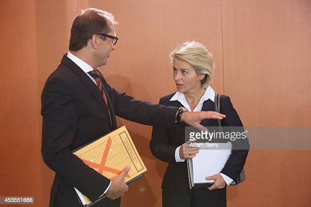 Transport and Digital Technologies Minister Alexander Dobrindt and Defense Minister Ursula von der Leyen arrive for the weekly German federal Cabinet...