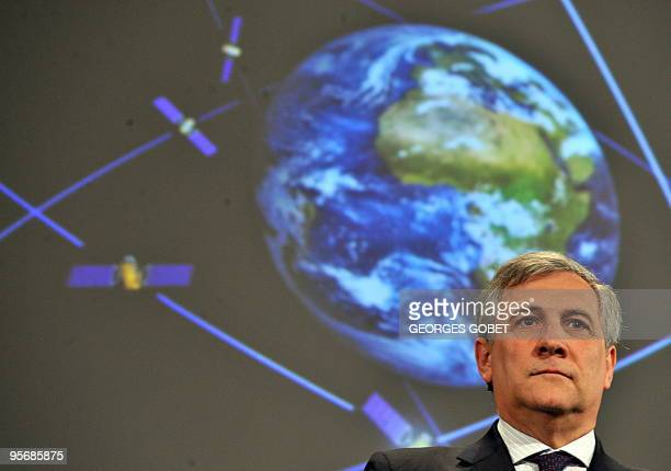 EU transport commissioner Antonio Tajani gives a press conference at EU headquarters in Brussels on January 7 2010 to announce that the EU's...
