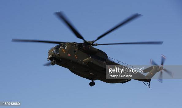 CH53 transport helicopter flies during the annual military exercises held for the media at the Bergen military training grounds on October 2 2013...