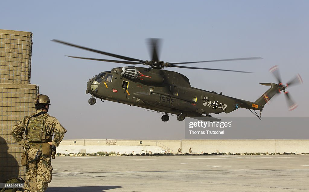 A CH53 transport helicopter land at PRT Kunduz on October 06, 2013 in Kunduz, Afghanistan. Westerwelle and de Maiziere visit Afghanistan to hand over German PRT in Kunduz to the Afghan Military.
