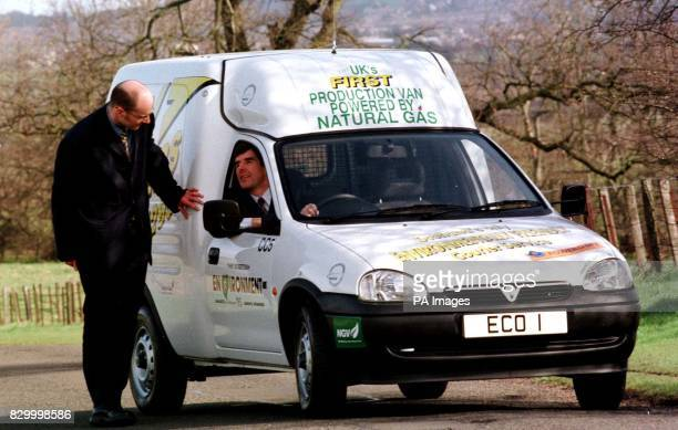 Transport Minister Dr Gavin Strang at the wheel of Britain's first dualfuel gas/petrol light transport van accompanied by Adam Syme proprietor of...