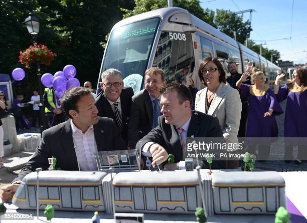 Transport Minister Leo Varadkar and Minister of State Alan Kelly at St Stephen's Green to help celebrate Dublin's LUAS tram system 10th Anniversary