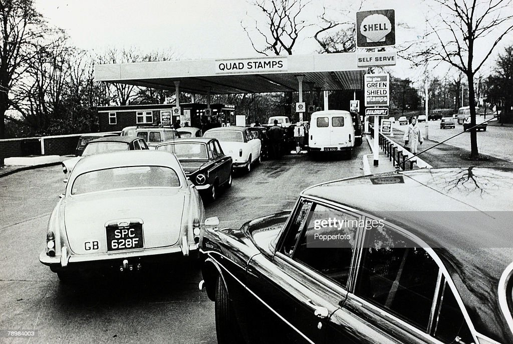 1973 Great Britain Motorists queue for petrol during the oil crisis