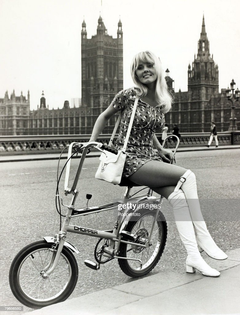 5th June 1970 London Pictured seated on the very latest in bicycles 'The Chopper' produced by Raleigh is Danish born actress Tutte Stenagaard the...