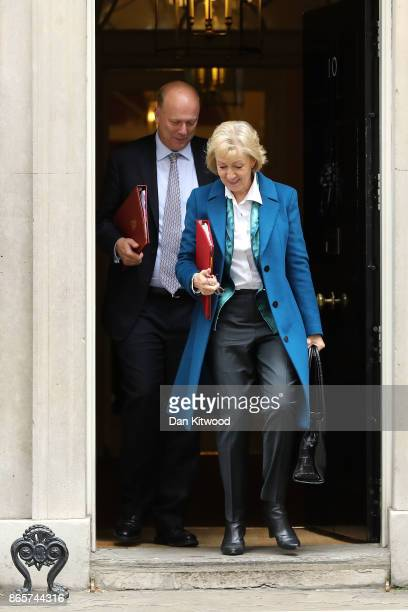 Transport Secretary Chris Grayling and Leader of the House of Commons Andrea Leadsom leave 10 Downing Street following a cabinet meeting on October...
