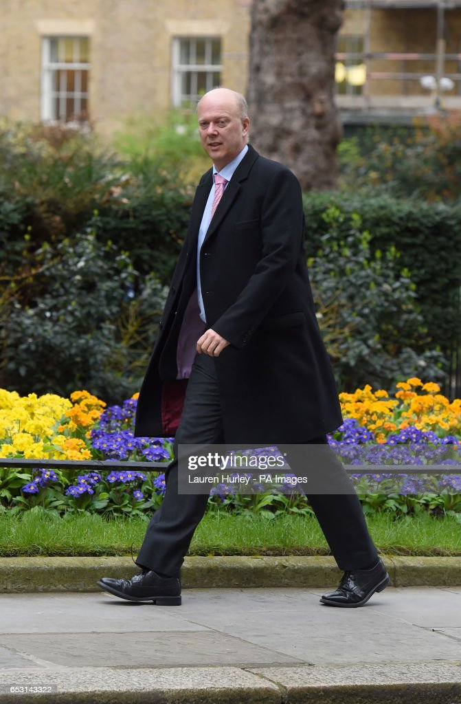 Transport Secretary Chris Grayling arriving at 10 Downing Street, London for the weekly cabinet meeting.