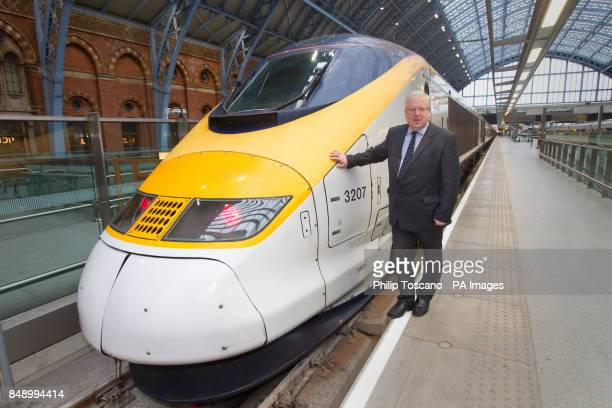 Transport Secretary Patrick McLoughlin at St Pancras train station in London for Eurostar's 18th birthday celebrations