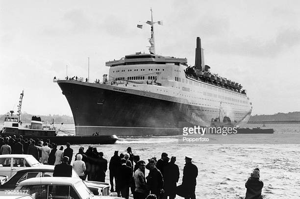2nd April 1969 Southampton England The British liner 'Queen Elizabeth II' leaving on an Atlantic cruise The 'Queen Elizabeth II' built at Clydebank...