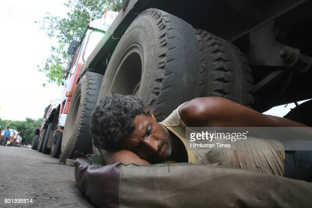 Transport Strike in Mumbai A truck driver relaxes at Masjid Bunder The strike called in protest against the various levies and taxes toll and diesel...