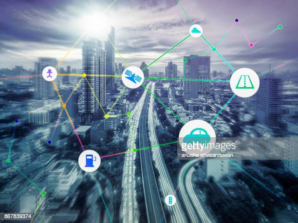 Transportation and communication and Internet at modern , abstract image .