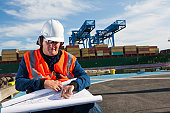 Transportation engineer in wheelchair with ear protectors studying plans at shipping port