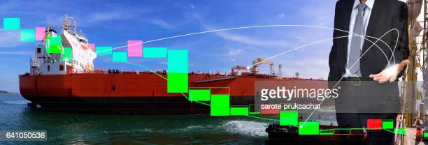 Transportation Logistic and technical bar chart on background .Image for transportation Logistic stock market concept .