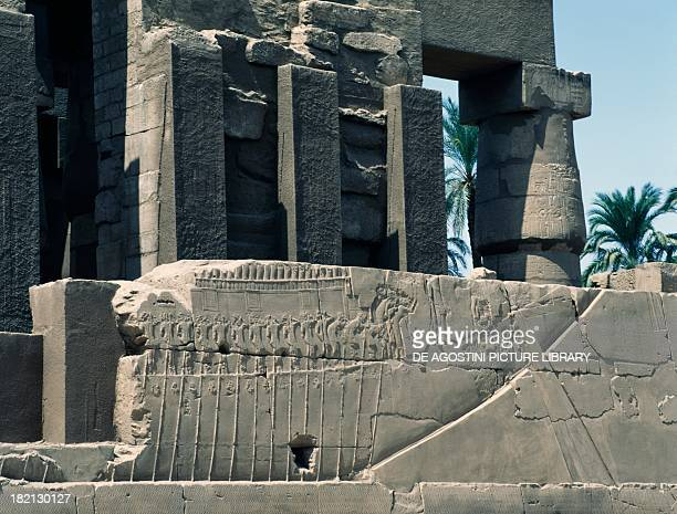 Transportation of the sacred boat relief east exterior wall of the Great Hypostyle Hall Karnak temple complex Egyptian civilisation New Kingdom...