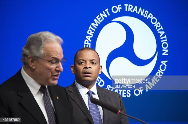 US Transportation Secretary Anthony Foxx and Administrator for the National Highway Traffic Safety Administration Dr Mark Rosekind announce actions...