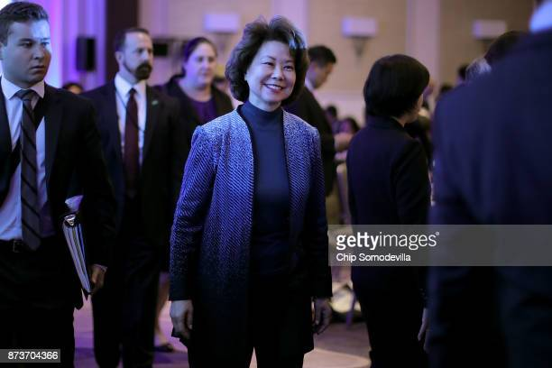 S Transportation Secretary Elaine Chao arrives before delivering keynote remarks during the USJapan Council's annual conference at the JW Marriott...
