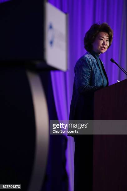 S Transportation Secretary Elaine Chao delivers keynote remarks during the USJapan Council's annual conference at the JW Marriott November 13 2017 in...